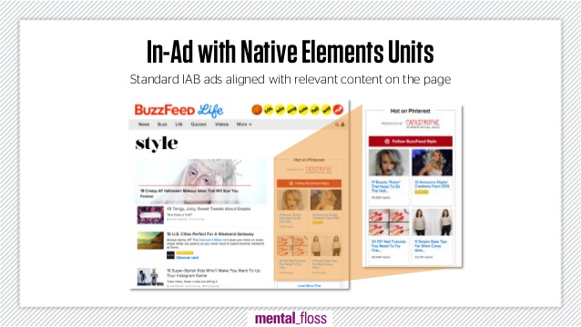 In-ad met native elements units